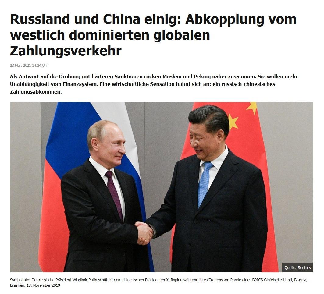 Russland und China einig: Abkopplung vom westlich dominierten globalen Zahlungsverkehr -  RT DE - 23 Mär. 2021 14:34 Uhr