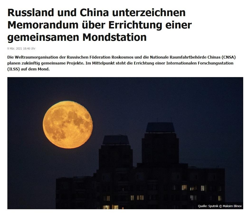Russland und China unterzeichnen Memorandum über Errichtung einer gemeinsamen Mondstation - RT DE - 9 Mär. 2021 18:46 Uhr