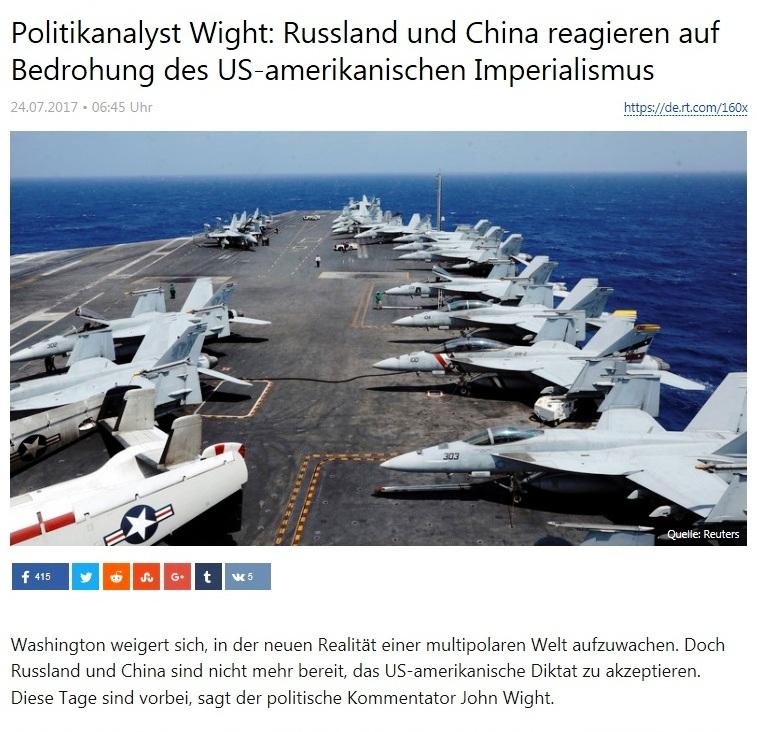 RT deutsch - Politikanalyst Wight: Russland und China reagieren auf Bedrohung des US-amerikanischen Imperialismus