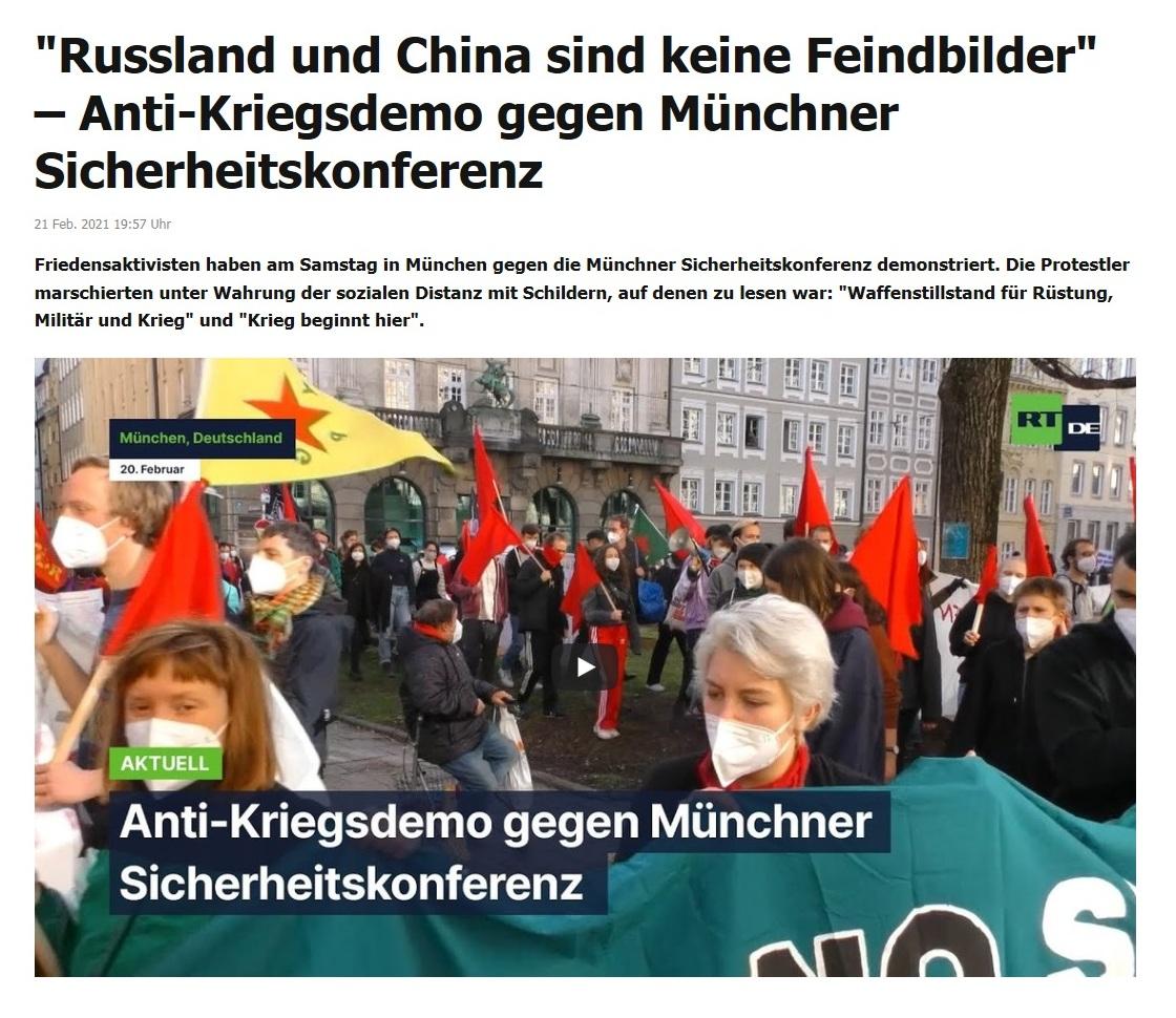 'Russland und China sind keine Feindbilder' – Anti-Kriegsdemo gegen Münchner Sicherheitskonferenz - RT DE - 21 Feb. 2021 19:57 Uhr