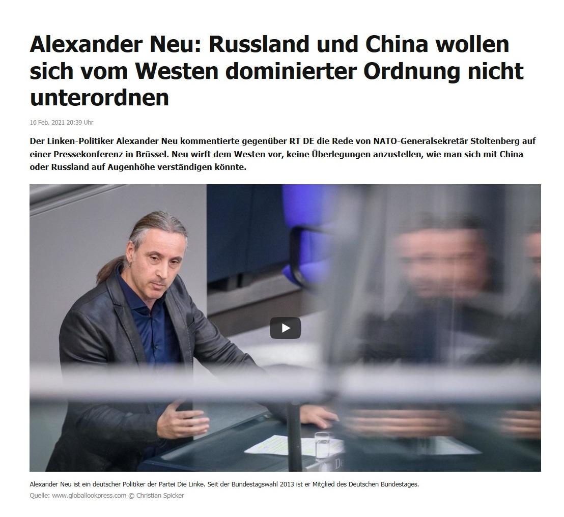 Alexander Neu: Russland und China wollen sich vom Westen dominierter Ordnung nicht unterordnen - RT DE - 16 Feb. 2021 20:39 Uhr
