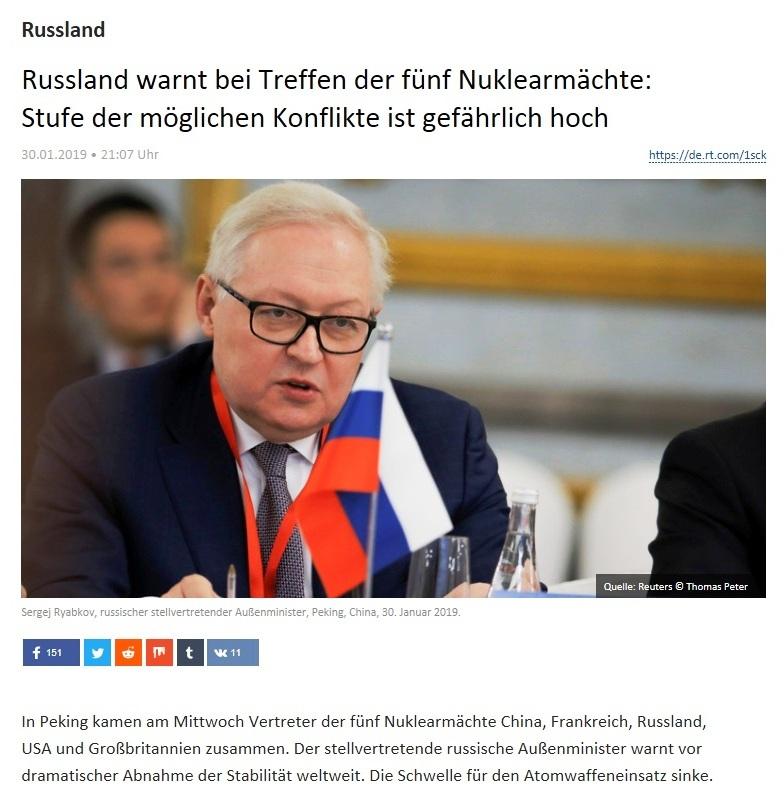 Russland - Russland warnt bei Treffen der fünf Nuklearmächte: Stufe der möglichen Konflikte ist gefährlich hoch