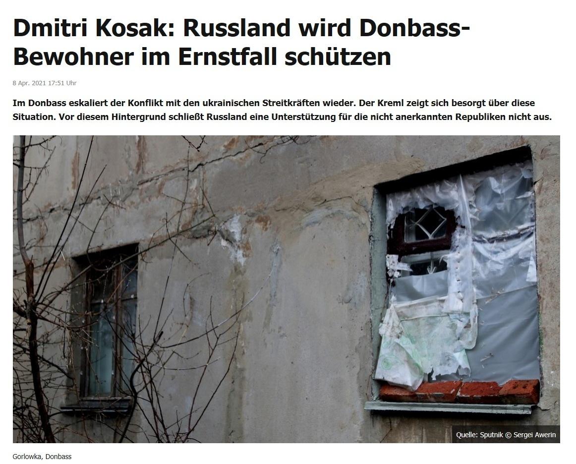 Dmitri Kosak: Russland wird Donbass-Bewohner im Ernstfall schützen -  RT DE - 8 Apr. 2021 17:51 Uhr