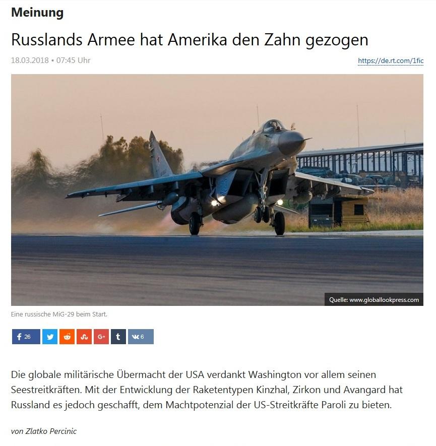Meinung - Russlands Armee hat Amerika den Zahn gezogen - von Zlatko Percinic