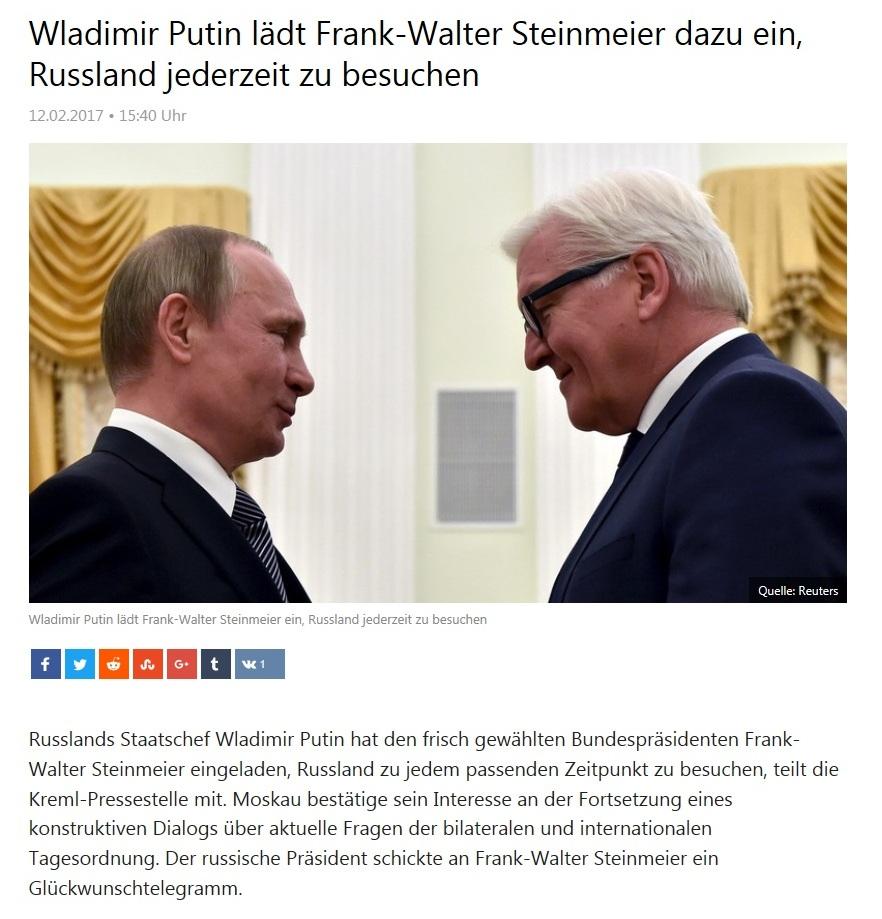 Wladimir Putin lädt Frank-Walter Steinmeier dazu ein, Russland jederzeit zu besuchen