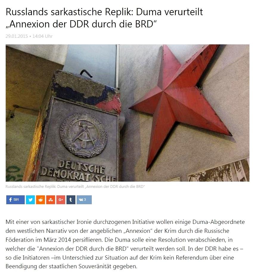 Russlands sarkastische Replik: Duma verurteilt Annexion der DDR durch die BRD