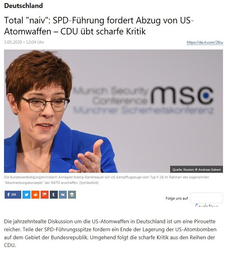 Deutschland - Total 'naiv': SPD-Führung fordert Abzug von US-Atomwaffen – CDU übt scharfe Kritik  - RT Deutsch -  3.05.2020