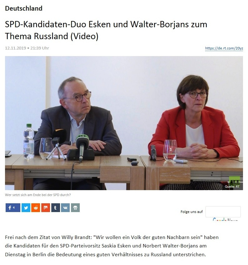 Deutschland - SPD-Kandidaten-Duo Esken und Walter-Borjans zum Thema Russland (Video)