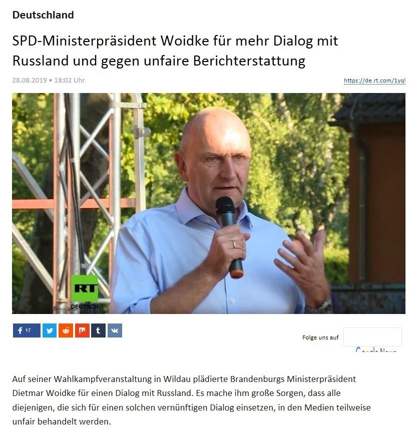 Deutschland - SPD-Ministerpräsident Woidke für mehr Dialog mit Russland und gegen unfaire Berichterstattung