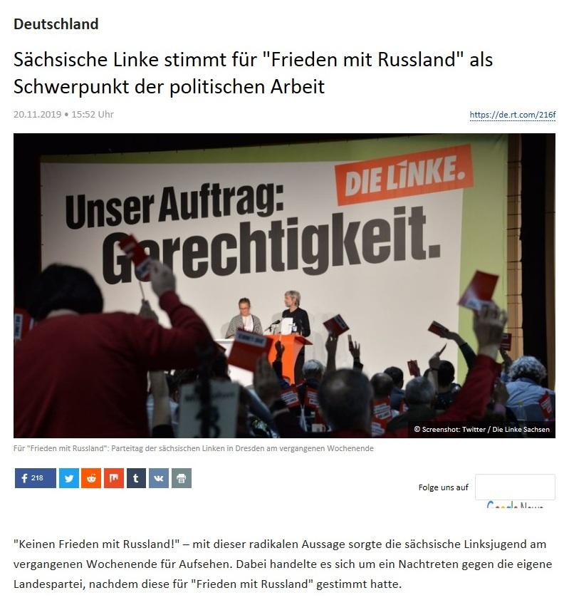 Deutschland - Sächsische Linke stimmt für 'Frieden mit Russland' als Schwerpunkt der politischen Arbeit
