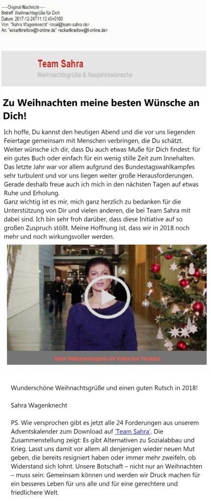 Aus dem Posteingang - Team Sahra - Weihnachtswünsche und Neujahrsgrüße zum Jahreswechsel 2017/2018 von Dr. Sahra Wagenknecht, Fraktionsvorsitzende DIE LINKE im Bundestag.