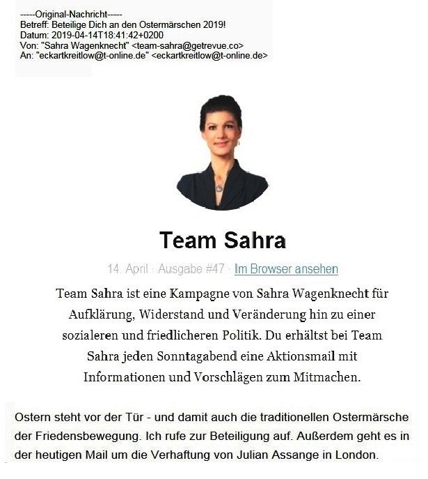 Aus dem Posteingang von Team Sahra vom 14.04.2019 - Sahra Wagenknecht