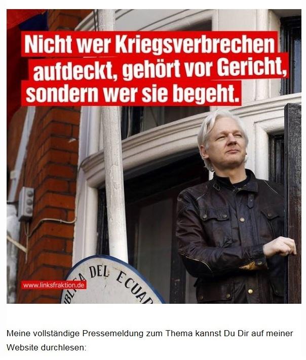 Aus dem Posteingang von Team Sahra vom 14.04.2019 - Sahra Wagenknecht - Free Julian Assange! - Nicht wer Kriegsverbrechen aufdeckt, gehört vor Gericht, sondern wer sie begeht.