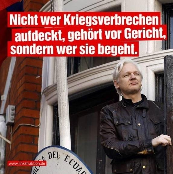 Aus dem Posteingang von Team Sahra vom 14.04.2019 - Dr. Sahra Wagenknecht - Free Julian Assange! - Nicht wer Kriegsverbrechen aufdeckt, gehört vor Gericht, sondern wer sie begeht.