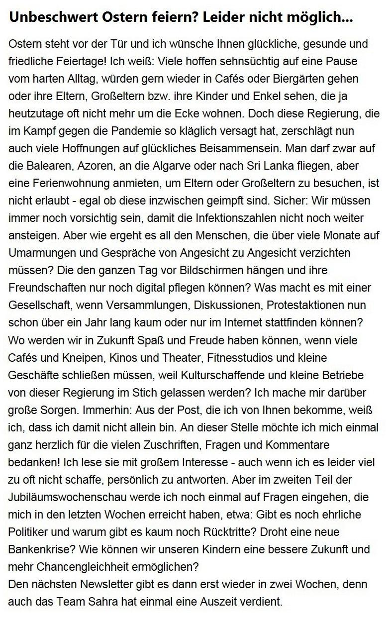 Aus dem Posteingang von Dr. Sahra Wagenknecht (MdB) - Team Sahra 01.04.2021 - Unbeschwert Ostern feiern? Leider nicht möglich... - Abschnitt 1