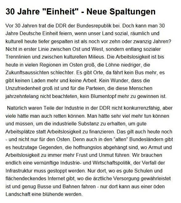 Aus dem Posteingang von Dr. Sahra Wagenknecht (MdB) - Team Sahra 01.10.2020 - 30 Jahre 'Einheit' - Neue Spaltungen