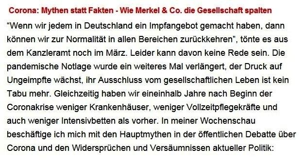 Aus dem Posteingang von Dr. Sahra Wagenknecht (MdB) - Team Sahra 02.09.2021 - Corona: Mythen statt Fakten - Wie Merkel & Co. die Gesellschaft spalten - Abschnitt 1