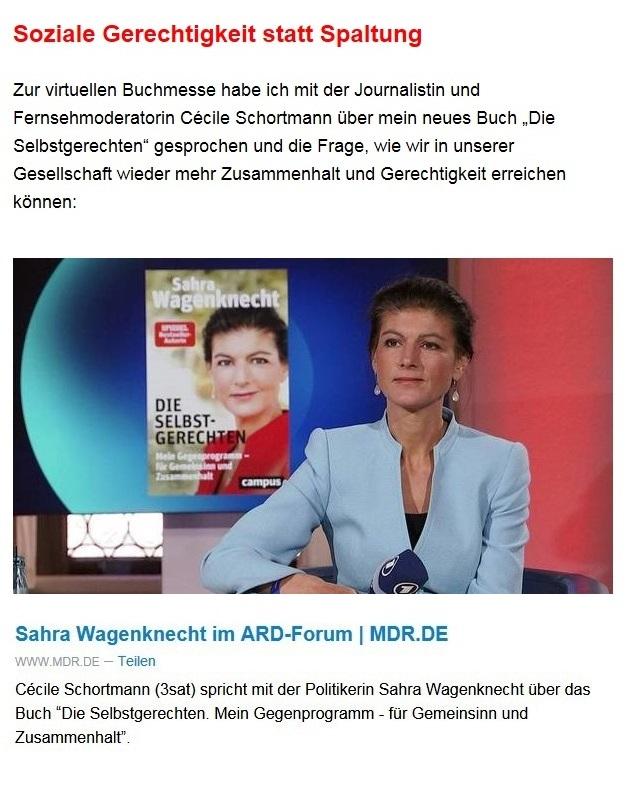 Aus dem Posteingang von Dr. Sahra Wagenknecht (MdB) - Team Sahra 03.06.2021 - Einsam, krank, abgehängt? Was die Corona-Politik mit Kindern macht - Abschnitt 3 - Link: https://www.mdr.de/video/mdr-plus-videos/video-sahra-wagenknecht-im-ard-forum-wirsindbuchmesse-100.html?fbclid=IwAR2Om3jdl6dguzHCtdBDWAaH3Rid06V6TVJ66a44k-7ANowGHixPHwJlh5s&utm_campaign=Sahra%20Wagenknecht&utm_medium=email&utm_source=Revue%20newsletter