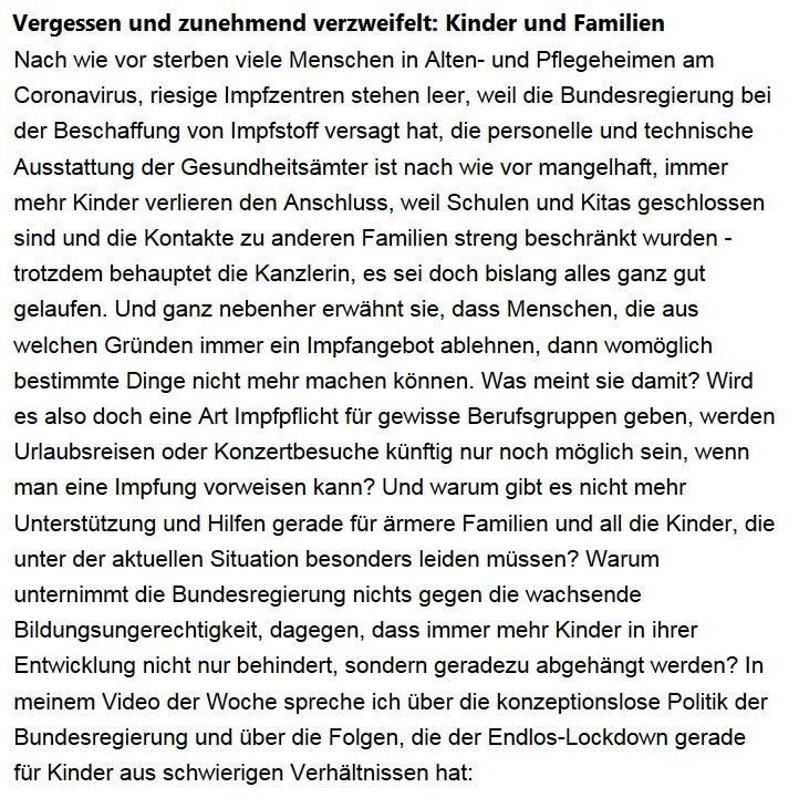 Aus dem Posteingang von Dr. Sahra Wagenknecht (MdB) - Team Sahra 04.02.2021 - Vergessen und zunehmend verzweifelt: Kinder und Familien - Abschnitt 1 von 8 Abschnitten