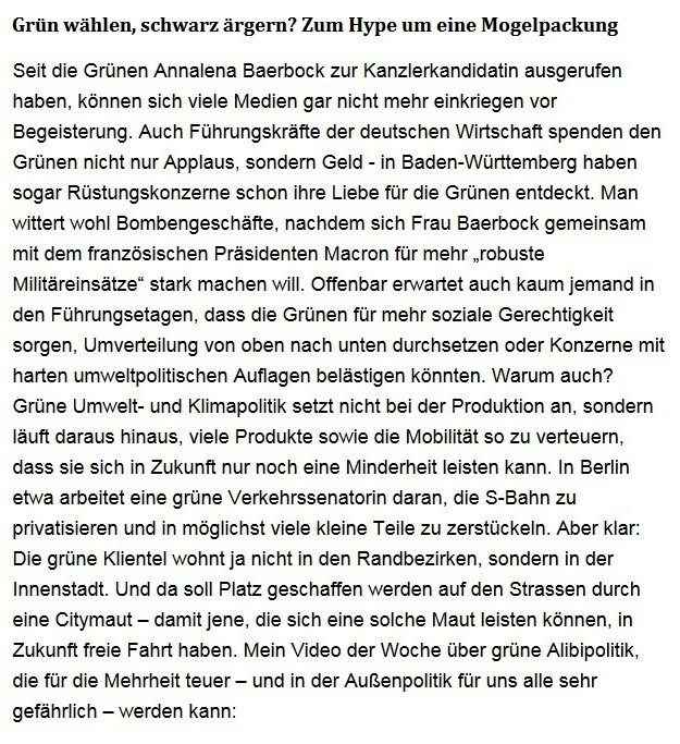 Aus dem Posteingang von Dr. Sahra Wagenknecht (MdB) - Team Sahra 06.05.2021 - #allesdichtmachen - Grün wählen, schwarz ärgern? Zum Hype um eine Mogelpackung - Abschnitt 1