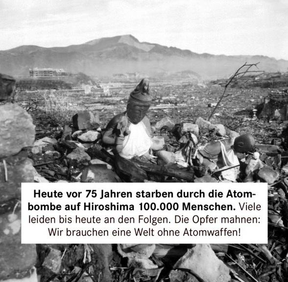 Aus dem Posteingang von Dr. Sahra Wagenknecht (MdB) - Team Sahra 06.08.2020 - 75 Jahre nach Hiroshima: Atomwaffen abziehen