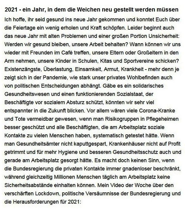 Aus dem Posteingang von Dr. Sahra Wagenknecht (MdB) - Team Sahra 07.01.2021 - 2021 - ein Jahr, in dem die Weichen neu gestellt werden müssen - Abschnitt 1