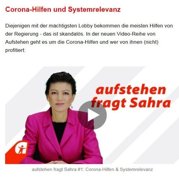 Aus dem Posteingang von Dr. Sahra Wagenknecht (MdB) - Team Sahra 07.01.2021 - 2021 - ein Jahr, in dem die Weichen neu gestellt werden müssen - Abschnitt 5
