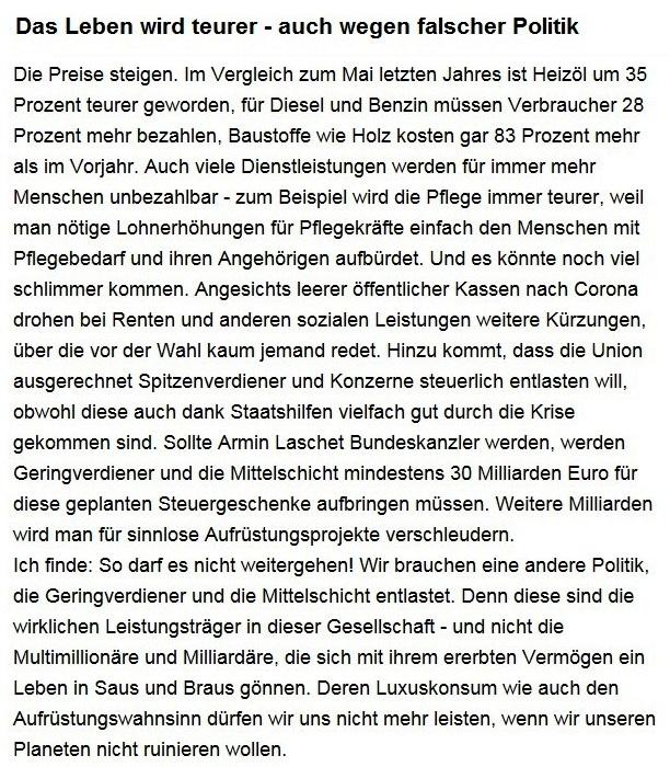 Aus dem Posteingang von Dr. Sahra Wagenknecht (MdB) - Team Sahra 08.07.2021 - Das Leben wird teurer - auch wegen falscher Politik - Abschnitt 1 - Link: https://www.sahra-wagenknecht.de/