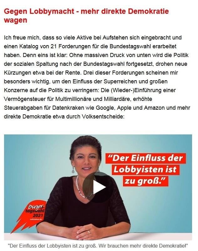Aus dem Posteingang von Dr. Sahra Wagenknecht (MdB) - Team Sahra 08.07.2021 - Das Leben wird teurer - auch wegen falscher Politik - Abschnitt 4 - Link: https://www.youtube.com/watch?v=YrHg20tBx4E