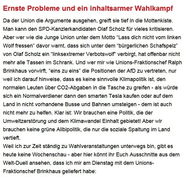 Aus dem Posteingang von Dr. Sahra Wagenknecht (MdB) - Team Sahra 09.09.2021 - Ernste Probleme und ein inhaltsarmer Wahlkampf - Abschnitt 1