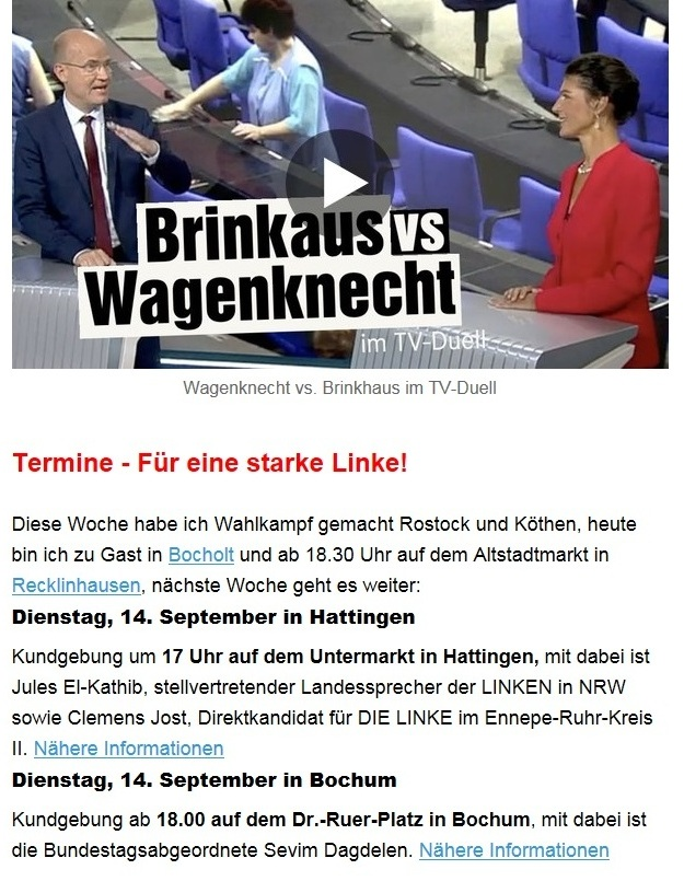 Aus dem Posteingang von Dr. Sahra Wagenknecht (MdB) - Team Sahra 09.09.2021 - Ernste Probleme und ein inhaltsarmer Wahlkampf - Abschnitt 2