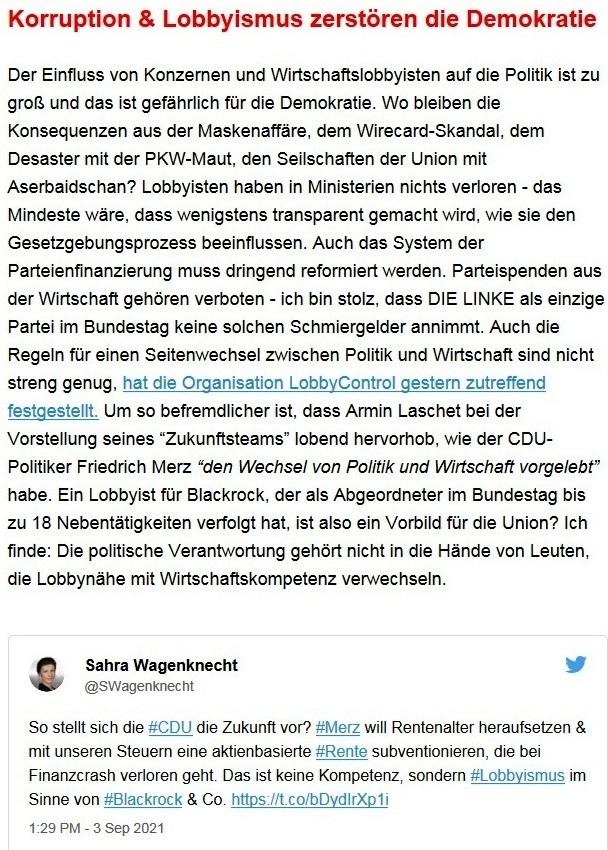 Aus dem Posteingang von Dr. Sahra Wagenknecht (MdB) - Team Sahra 09.09.2021 - Ernste Probleme und ein inhaltsarmer Wahlkampf - Abschnitt 5
