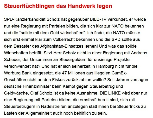 Aus dem Posteingang von Dr. Sahra Wagenknecht (MdB) - Team Sahra 09.09.2021 - Ernste Probleme und ein inhaltsarmer Wahlkampf - Abschnitt 6
