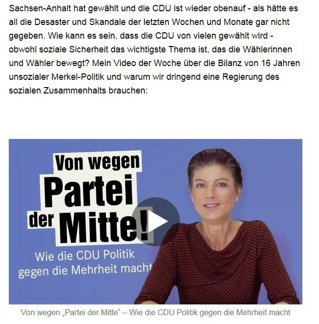 """Aus dem Posteingang von Dr. Sahra Wagenknecht (MdB) - Team Sahra 10.06.2021 - Von wegen """"Partei der Mitte""""! Wie die CDU Politik gegen die Mitte macht - Abschnitt 1 - Link: https://www.youtube.com/watch?v=KYrGVcvpz3A"""