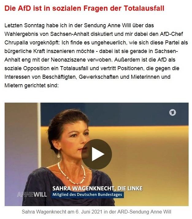 """Aus dem Posteingang von Dr. Sahra Wagenknecht (MdB) - Team Sahra 10.06.2021 - Von wegen """"Partei der Mitte""""! Wie die CDU Politik gegen die Mitte macht - Abschnitt 2 - Link: https://www.youtube.com/watch?v=LIJrSnw8Vp0"""