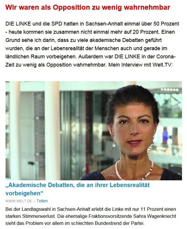 """Aus dem Posteingang von Dr. Sahra Wagenknecht (MdB) - Team Sahra 10.06.2021 - Von wegen """"Partei der Mitte""""! Wie die CDU Politik gegen die Mitte macht - Abschnitt 4 - Link: https://www.welt.de/politik/video231640831/Sachsen-Anhalt-Akademische-Debatten-die-an-ihrer-Lebensrealitaet-vorbeigehen.html?utm_campaign=Sahra%20Wagenknecht&utm_medium=email&utm_source=Revue%20newsletter"""