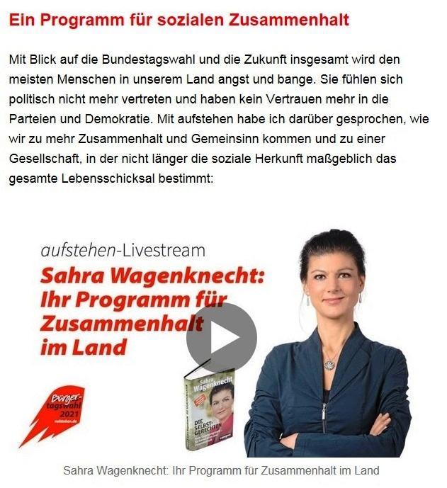 """Aus dem Posteingang von Dr. Sahra Wagenknecht (MdB) - Team Sahra 10.06.2021 - Von wegen """"Partei der Mitte""""! Wie die CDU Politik gegen die Mitte macht - Abschnitt 6 - Link: https://www.youtube.com/watch?v=bJBEI9Hg6_Y"""