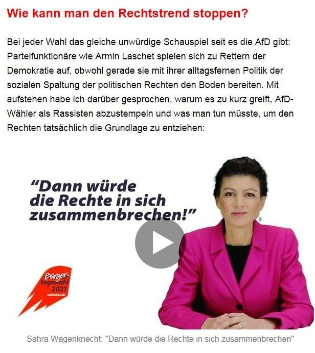 """Aus dem Posteingang von Dr. Sahra Wagenknecht (MdB) - Team Sahra 10.06.2021 - Von wegen """"Partei der Mitte""""! Wie die CDU Politik gegen die Mitte macht - Abschnitt 7 - Link: https://www.youtube.com/watch?v=dmVFFLy6Ds8"""