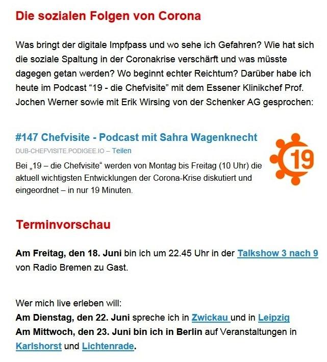 """Aus dem Posteingang von Dr. Sahra Wagenknecht (MdB) - Team Sahra 10.06.2021 - Von wegen """"Partei der Mitte""""! Wie die CDU Politik gegen die Mitte macht - Abschnitt 8 - Link: https://www.youtube.com/watch?v=dmVFFLy6Ds8"""