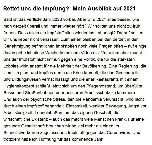 Aus dem Posteingang von Dr. Sahra Wagenknecht (MdB) - Team Sahra 10.12.2020 - Rettet uns die Impfung? Mein Ausblick auf 2021 - Abschnitt 1