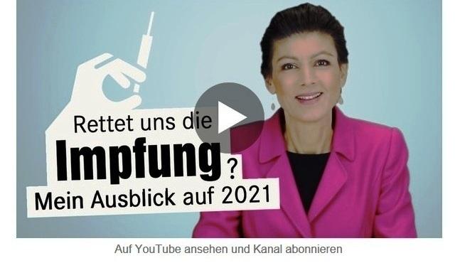 Aus dem Posteingang von Dr. Sahra Wagenknecht (MdB) - Team Sahra 10.12.2020 - Rettet uns die Impfung? Mein Ausblick auf 2021 - Abschnitt 2
