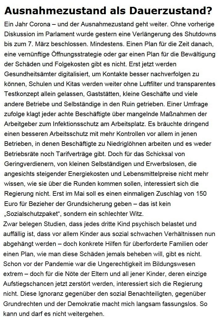 Aus dem Posteingang von Dr. Sahra Wagenknecht (MdB) - Team Sahra 11.02.2021 - Ausnahmezustand als Dauerzustand? - Abschnitt 1 von 7 Abschnitten