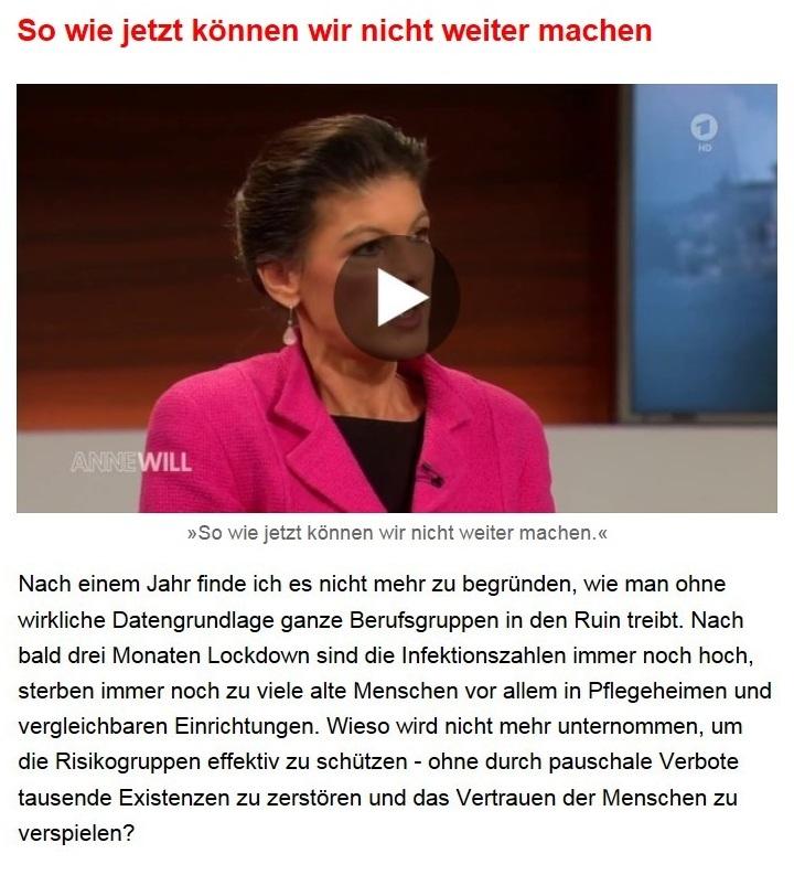 Aus dem Posteingang von Dr. Sahra Wagenknecht (MdB) - Team Sahra 11.02.2021 - Ausnahmezustand als Dauerzustand? - Abschnitt 2 von 7 Abschnitten
