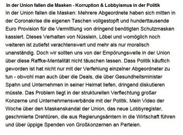 Aus dem Posteingang von Dr. Sahra Wagenknecht (MdB) - Team Sahra 11.03.2021 - In der Union fallen die Masken - Korruption & Lobbyismus in der Politik - Abschnitt 1 von 5 Abschnitten