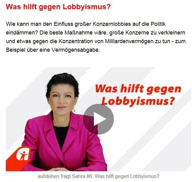 Aus dem Posteingang von Dr. Sahra Wagenknecht (MdB) - Team Sahra 11.03.2021 - In der Union fallen die Masken - Korruption & Lobbyismus in der Politik - Abschnitt 3 von 5 Abschnitten