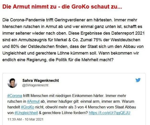Aus dem Posteingang von Dr. Sahra Wagenknecht (MdB) - Team Sahra 11.03.2021 - In der Union fallen die Masken - Korruption & Lobbyismus in der Politik - Abschnitt 5 von 5 Abschnitten
