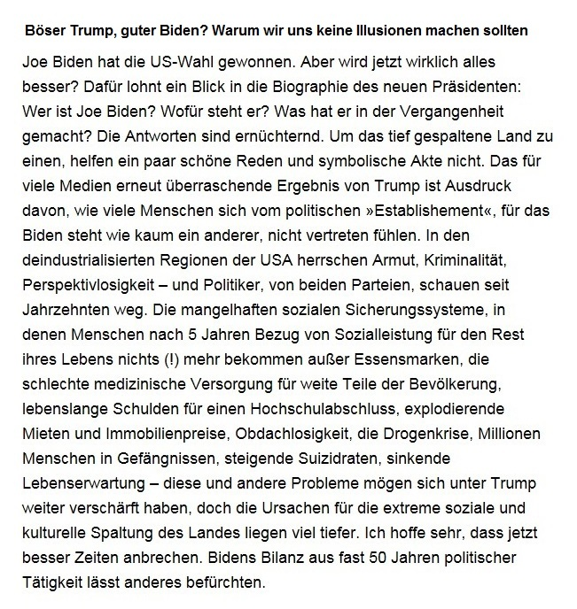 Aus dem Posteingang von Dr. Sahra Wagenknecht (MdB) - Team Sahra 12.10.2020 - Böser Trump, guter Biden? Warum wir uns keine Illusionen machen sollten - Abschnitt 1