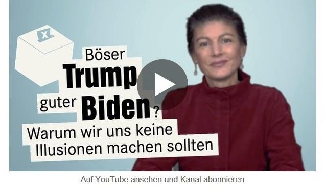 Aus dem Posteingang von Dr. Sahra Wagenknecht (MdB) - Team Sahra 12.10.2020 - Böser Trump, guter Biden? Warum wir uns keine Illusionen machen sollten - Abschnitt 2