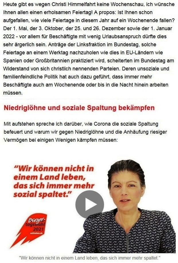 Aus dem Posteingang von Dr. Sahra Wagenknecht (MdB) - Team Sahra 13.05.2021 - Niedriglöhne und soziale Spaltung bekämpfen - Abschnitt 1