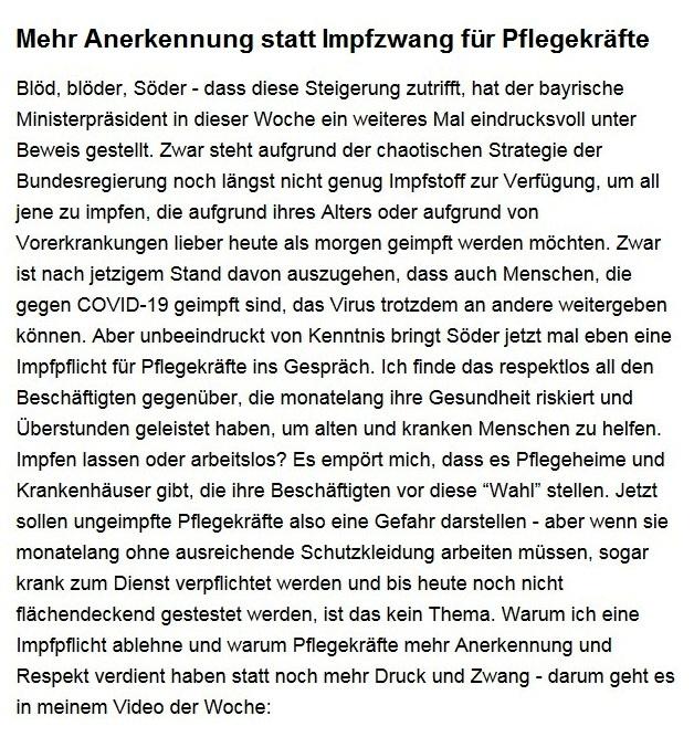 Aus dem Posteingang von Dr. Sahra Wagenknecht (MdB) - Team Sahra 14.01.2021 - Mehr Anerkennung statt Impfzwang für Pflegekräfte - Abschnitt 1